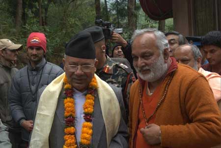 Prime Minister Madhav Kumar Nepal with Sw Arun